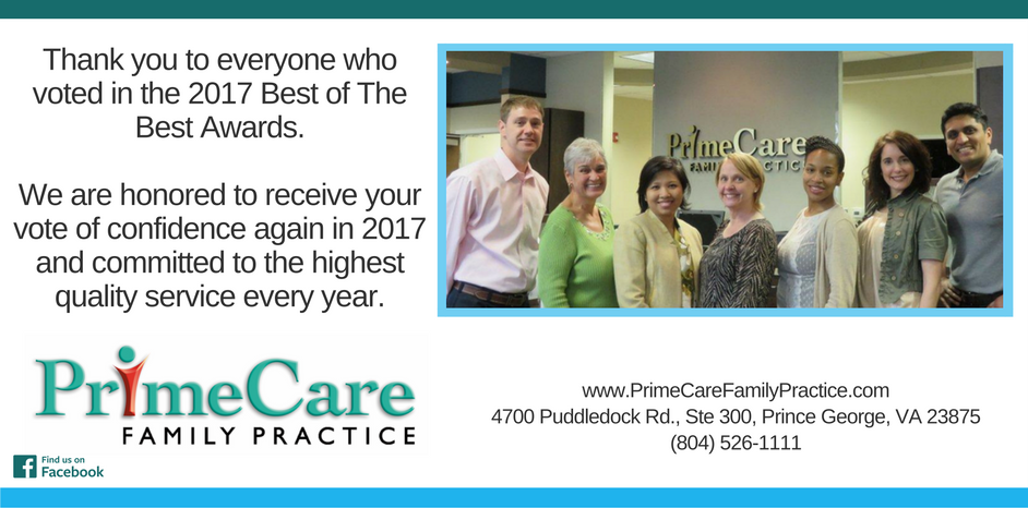 Thank You For Voting For Prime Care